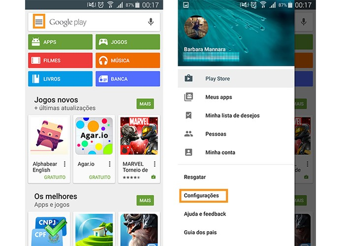 Acesse as configurações da Google Play Store (Foto: Reprodução/Barbara Mannara)