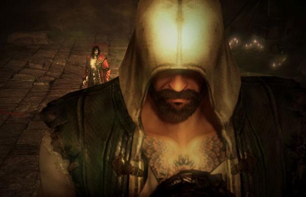 O caçador de vampiros Gabriel Belmont ao fundo em cena do novo 'Castlevania: Lords of Shadow 2'. (Foto: Divulgação)