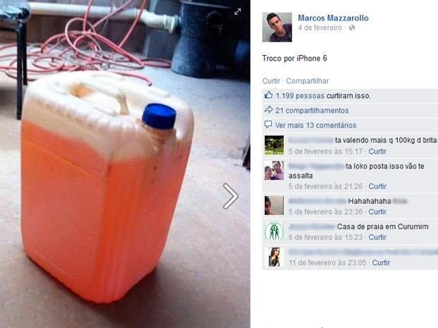 Oferta de galão de gasolina por smartphone temas atuais nas postagens de Marcos (Foto: Arquivo Pessoal)