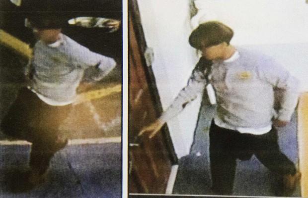 Imagens de câmeras de segurança fornecidas pela polícia mostram o suspeito do tiroteio em Charleston (Foto: AP)