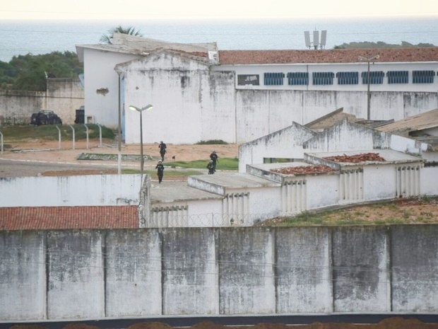 Após construção de muro, facções serão colocadas em mesmo pavilhão de Alcaçuz   (Foto: Fred Carvalho/G1)