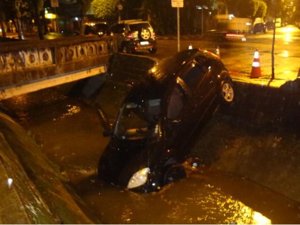 Carro cai dentro de canal em Santos (Foto: André Souza/Arquivo Pessoal)