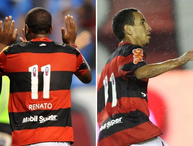 montagem Flamengo Camisa 11 Renato Abreu e Rafinha (Foto: Editoria de Arte)