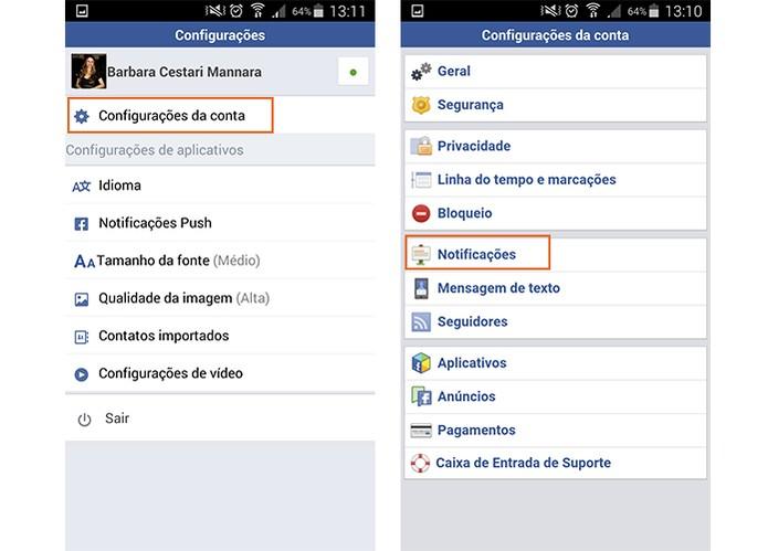 Acesse as configurações de notificações no Facebook Lite (Foto: Reprodução/Barbara Mannara)