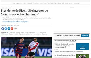 Torcedor que cuspiu em Messi será expulso se for sócio, diz presidente