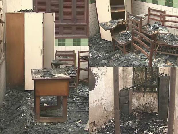 Escola foi incendiada na noite de quinta-feira (20) (Foto: Reprodução Rede Amazônica Acre)