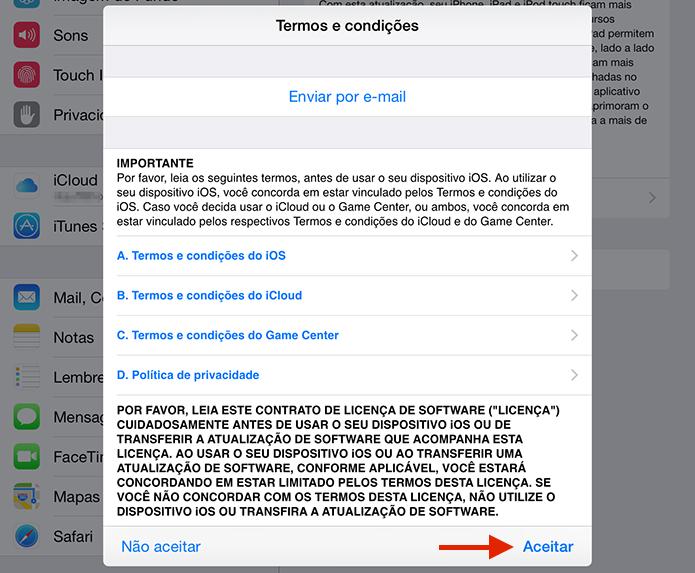 Aceitando os termo e condições para instalação do iOS 9 (Foto: Reprodução/Marvin Costa)