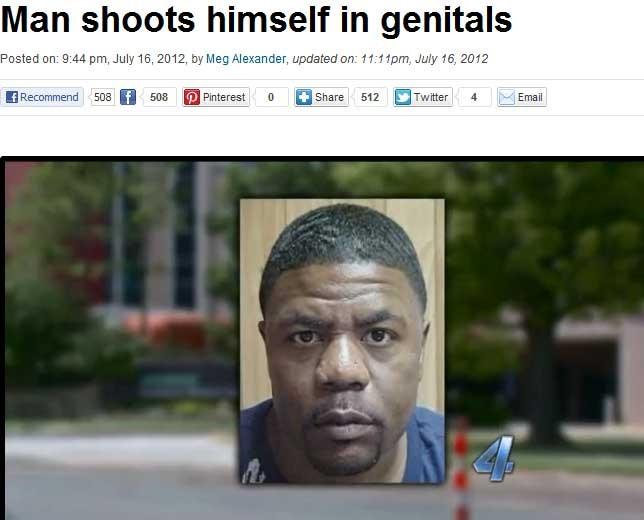 Reportagem de TV dos EUA relata caso do homem que atirou acidentalmente no próprio pênis (Foto: Reprodução)