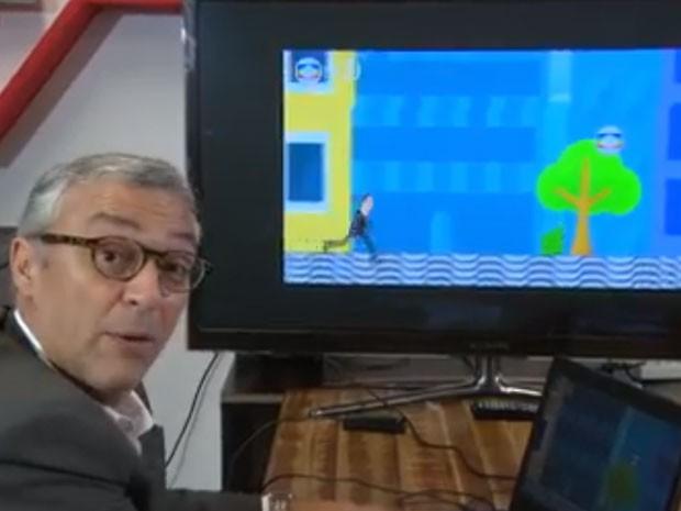 Repórter Ari Peixoto virou personagem de game (Foto: Reprodução / Globo)
