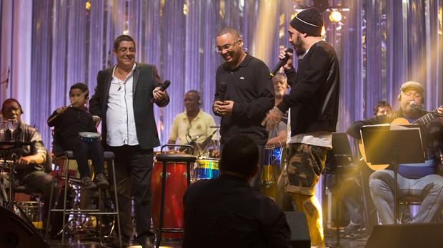 Zeca Pagodinho, Dudu Nobre e Marcelo D2 ensaiam para o Msica Boa Ao Vivo (Foto: Andr Bittencourt/Multishow)