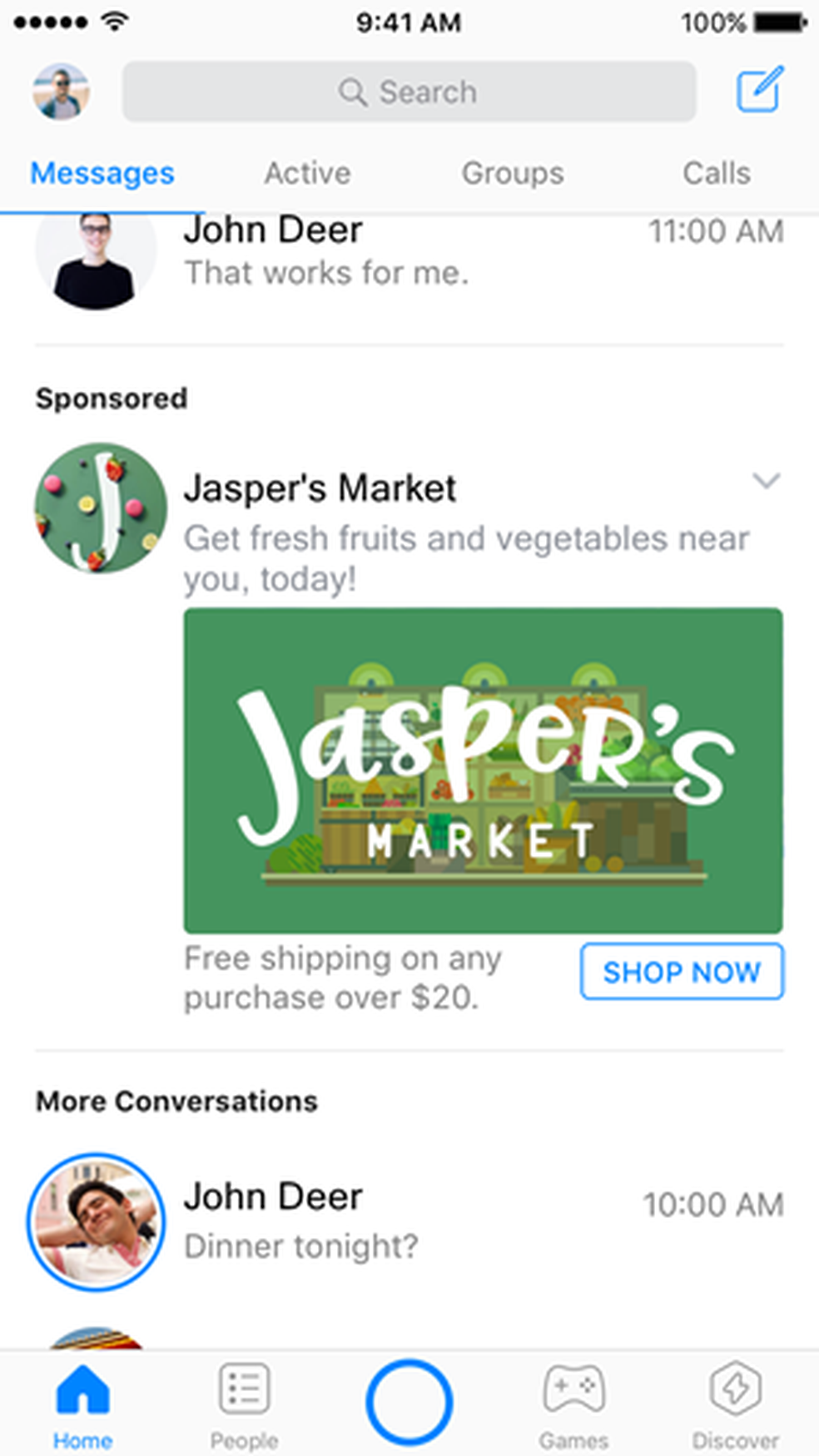 Facebook passa a mostrar anúncio no Messenger (Foto: Divulgação/Facebook)
