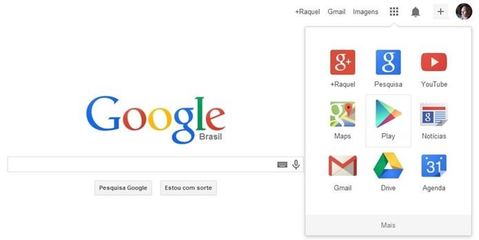 Tela inicial do Google logado, com acesso rápido aos apps da empresa (Foto: Reprodução/Raquel Freire)