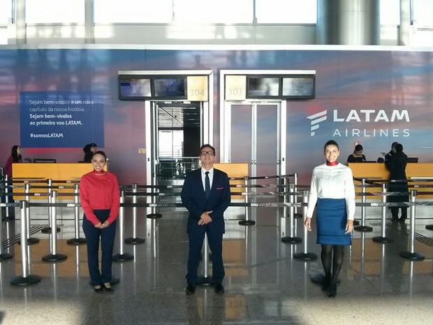 Nova identidade da LATAM Airlines no aeroporto de Guarulhos. (Foto: Marcio Jumpei/Divulgação)