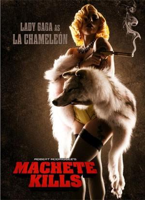 Pôster de 'Machete kills' mostra Lady Gaga, que faz sua estreia como atriz no filme dirigido por Robert Rodriguez (Foto: Divulgação)