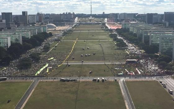 Foto aérea de Brasília antes da votação (Foto: Divulgação/ PM do DF)