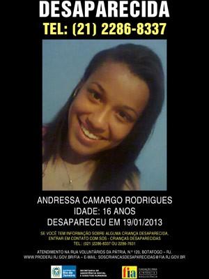 Parentes e amigos procuram por jovem desaparecida no Rio (Foto: Divulgação/ FIA)