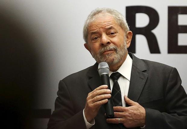 O ex-presidente Luiz Inácio Lula da Silva discursa em evento (Foto: Ueslei Marcelino/Reuters)