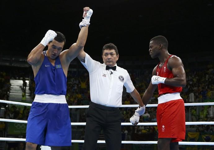 boxe; olimpíada 2016;  Jones Kennedy; Adilbek Niyazymbetov; Joshua Buatsi (Foto: REUTERS/Peter Cziborra)