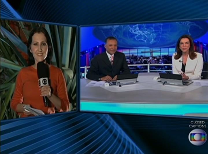 Repórter Amanda Dantas durante link para o Jornal Nacional (Foto: Reprodução/ TV Asa Branca)
