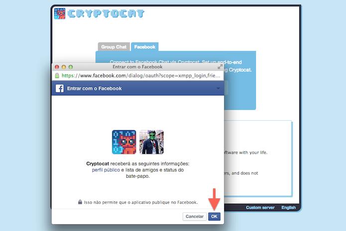 Confirmando o acesso do CryptoCat ao Facebook (Foto: Reprodução/Marvin Costa)