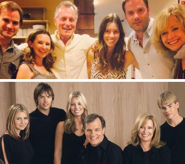 O elenco de 'Sétimo Céu' no começo dos anos 2000 e em 2014 (Foto: Reprodução / Twitter)
