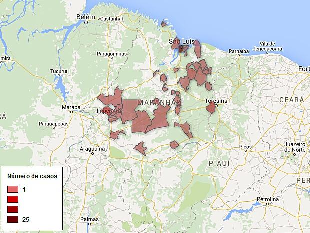 Distribuição dos casos de microcefalia no Maranhão (Foto: G1)