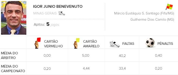info árbitros do brasileirão - Igor Junio Benevenuto - Botafogo X Bahia (Foto: Editoria de arte)