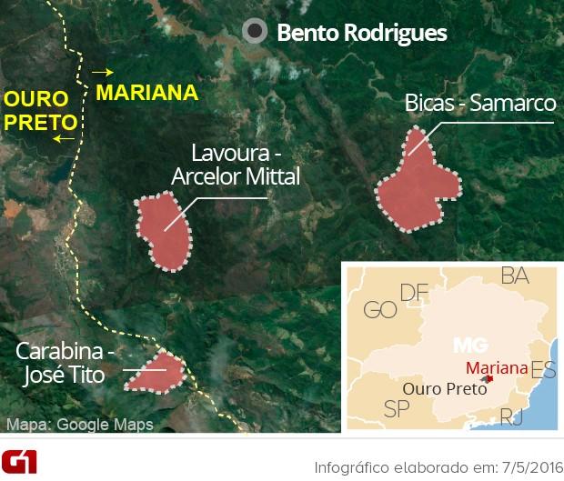 Votação escolheu local para reconstruir distrito destruído no desastre de Mariana (Foto: Arte/G1)