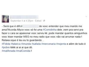 Mulher ameaçou rival por meio de rede social (Foto: Reprodução/Facebook)