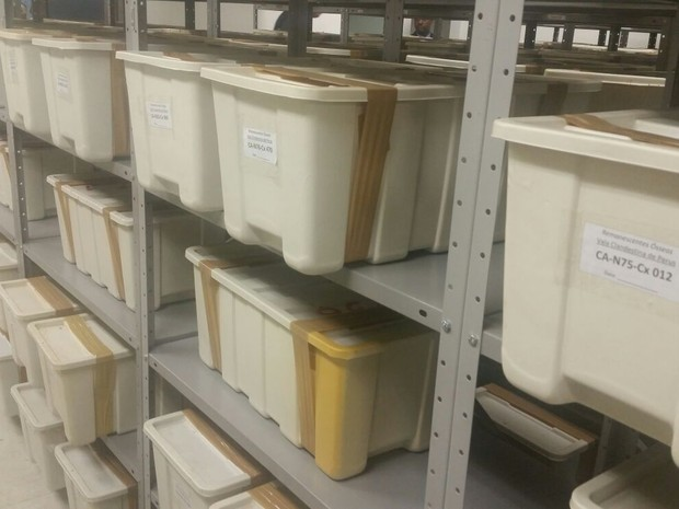 Caixas estava guardadas no Cemitério do Araçá, na região central (Foto: Tatiana Santiago/G1)