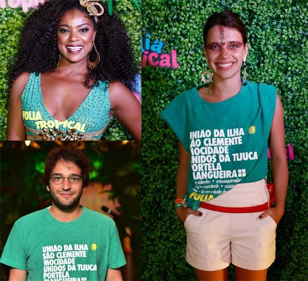 Cris Viana, Bruna Linzmeyer e Humberto Carrão também prestigiaram o Folia Tropical na Sapucaí (Foto: Divulgação)