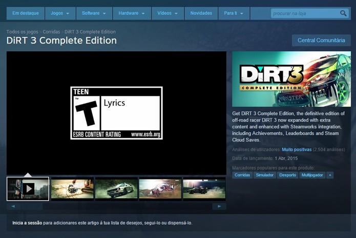 Tela de DiRT 3 no Steam (Foto: Reprodução/André Mello)