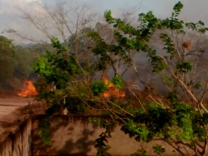 Incêndio atingiu área ao longo da Rodovia Duca Serra, em Macapá (Foto: Eládio do Nascimento/Arquivo Pessoal)