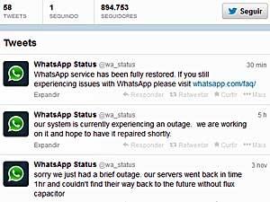 Serviço do aplicativo WhatsApp foi resolvido no início da madrugada deste domingo (8). (Foto: Reprodução / Twitter)