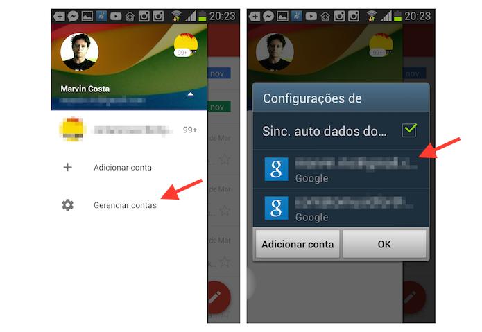 Gerenciando uma conta do Gmail no aplicativo para Android (Foto: Reprodução/Marvin Costa)