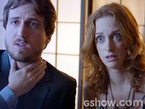 Pri e Marcelo levam um susto com a notícia (Foto: Além do Horizonte/TV Globo)