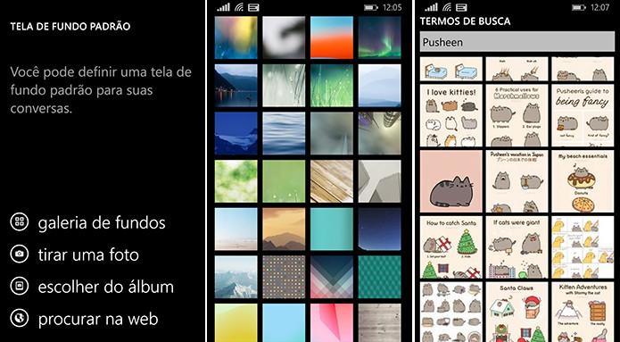 WhatsApp para Windows Phone permite que adicionar plano de fundo a parte da câmera, imagens padrão e pesquisa na web (Foto: Reprodução/Elson de Souza)