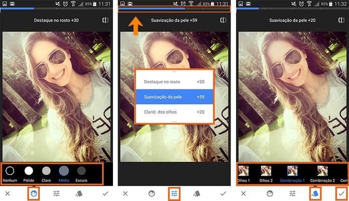Aplique o filtro de rosto para deixar suas selfies perfeitas (Foto: Reprodução/Barbara Mannara)