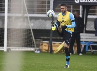 Rhodolfo em treino do Grêmio (Foto: Lucas Uebel / Grêmio, DVG)