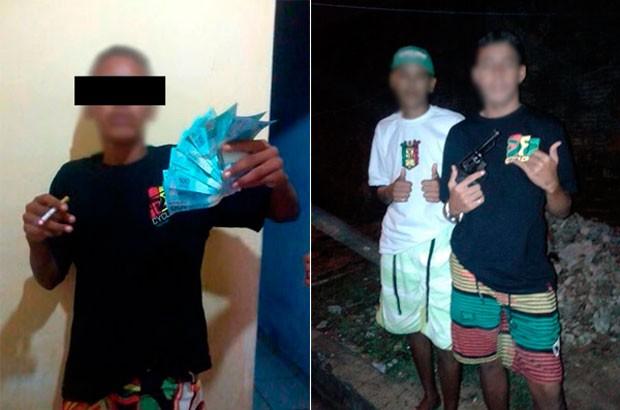 Fotos de rapazes ostentando dinheiro e empunhando armas estão na página que um deles mantém no Facebook (Foto: Divulgação/Polícia Civil do RN)