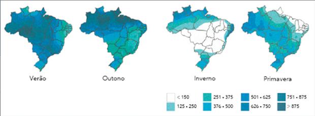 Média da variação de chuva no território brasileiro (Foto: Colégio Qi)