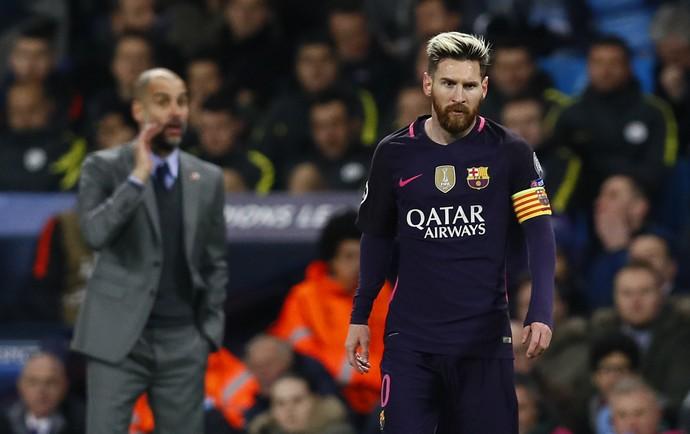 Messi e Guardiola Barcelona x Manchester City (Foto: Reuters)