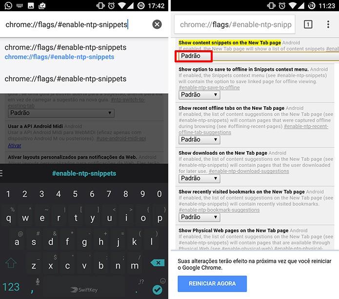 Google Chrome para Android tem opção de desativar sugestões em configurações escondidas (Foto: Reprodução/Elson de Souza)