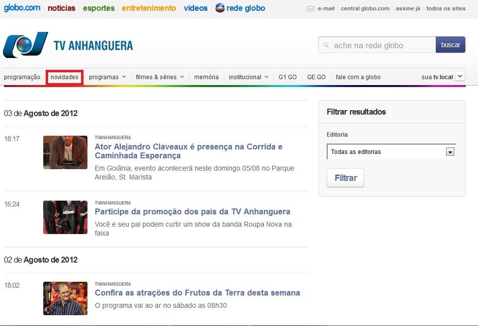 Novidades TV Anhanguera (Foto: divulgação)