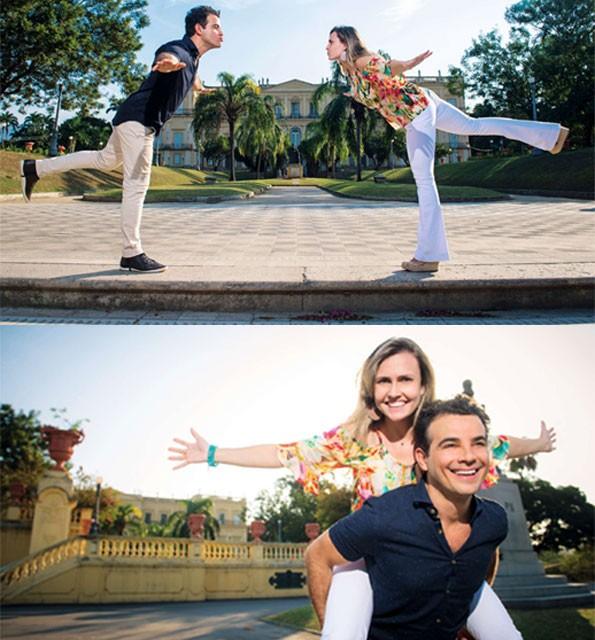 Anderson e Taise brincam em frente ao Museu Nacional (Foto: Fabio Cordeiro/Ed. Globo)