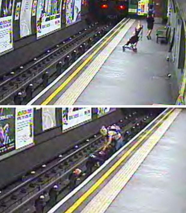 Mulher salvou criança que caiu nos trilhos do metrô de Londres (Foto: British Transport Police/AP)