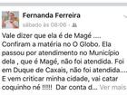 Secretária publica 'vai catar coquinho' (Reprodução Facebook)