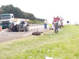 Motorista não resistiu aos ferimentos e morreu no local (Foto: Bruno Casteletto/TV TEM)