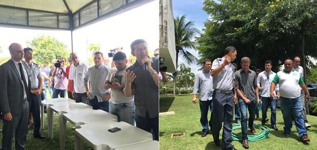 Caio Bezerra, secretário de Segurança Pública, e o comandante-geral da PM, coronel André Azevedo, convidaram os líderes do movimento para participarem de uma reunião com o governador (Foto: Fred Carvalho/G1)
