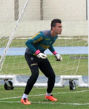 Milton Raphael treino goleiro Botafogo (Foto: Cauê Rademaker)